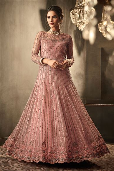 Net Fabric Peach Occasion Wear Anarkali Suit With Embroidery Work