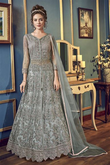 Net Grey Floor Length Anarkali Suit With Embroidery Work