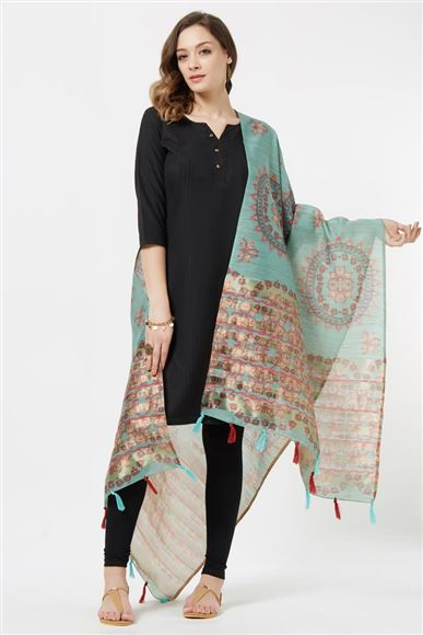Occasion Wear Cyan Color Fancy Printed Dupatta In Cotton Silk Fabric