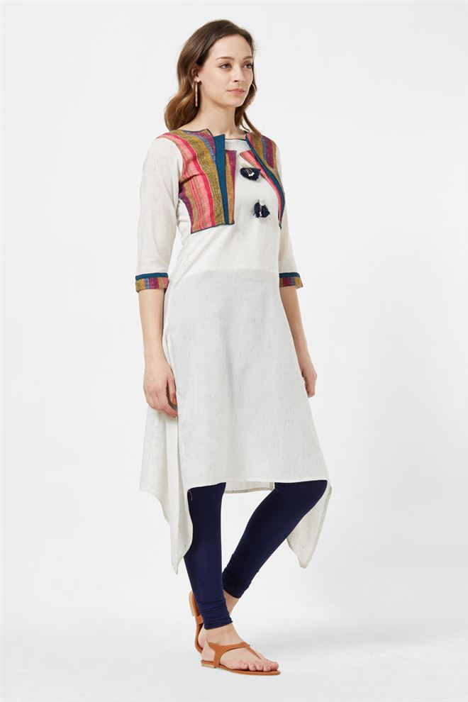 Occasion Wear Off White Color Cotton Fabric Long Kurti