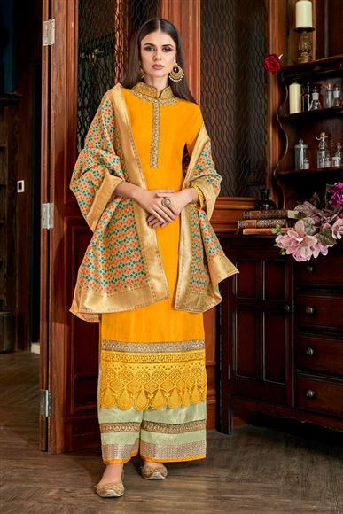 Occasion Wear Yellow Color Palazzo Suit In Art Silk Fabric