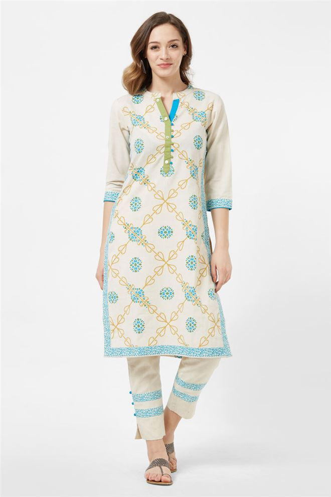Office Wear Cream Color Designer Cotton Long Kurti With Pant