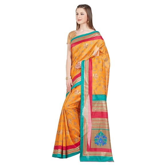Orange Tussar Silk Party Wear Saree With Weaving Work And Charming Blouse