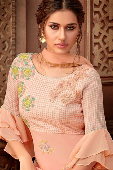 Party Wear Embroidered Palazzo Suit In Peach Color