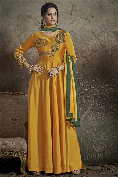Party Wear Mustard Color Designer Taffeta Silk Readymade Gown Style Anarkali Suit
