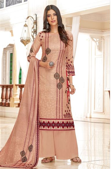 Pashmina Fabric Chikoo Function Wear Printed Palazzo Suit