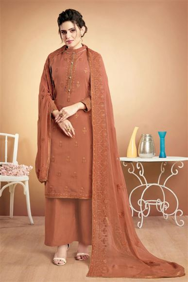 Peach Casual Style Embroidered Fancy Fabric Palazzo Suit
