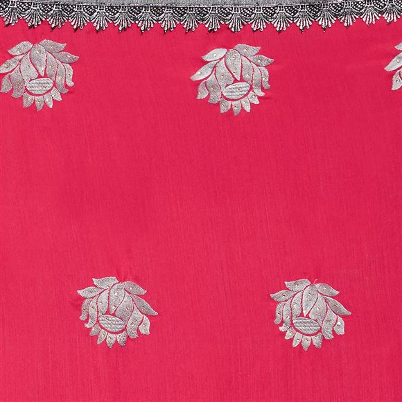 Pink Color Designer Art Silk Function Wear Saree With Embroidery