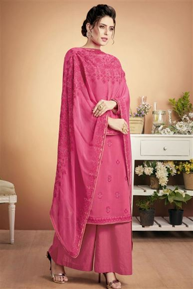 Pink Embroidered Casual Wear Palazzo Dress In Fancy Fabric