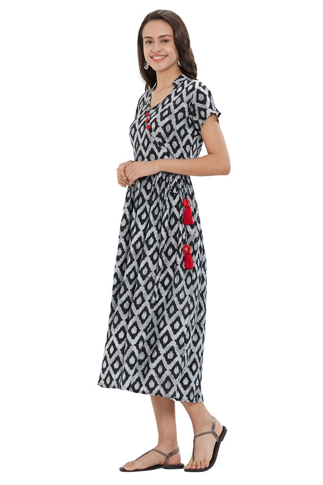 Pleasant Black And White Designer Kurtis with Ikkat Print on Rayon Fabric
