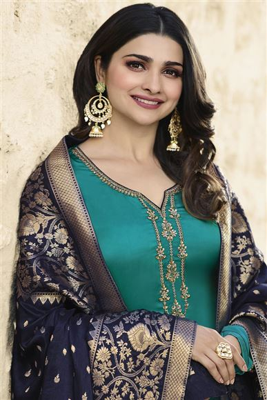 Prachi Desai Cyan Georgette Embroidered Function Wear Designer Straight Cut Suit
