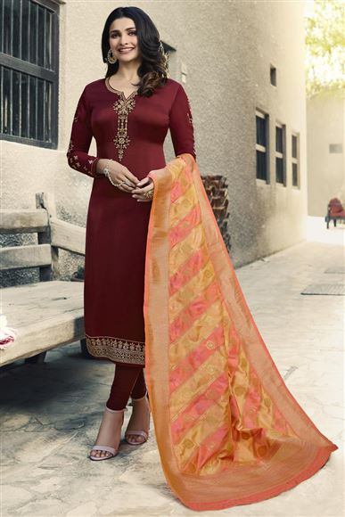 Prachi Desai Maroon Color Ethnic Wear Georgette Fancy Embroidered Designer Salwar Suit