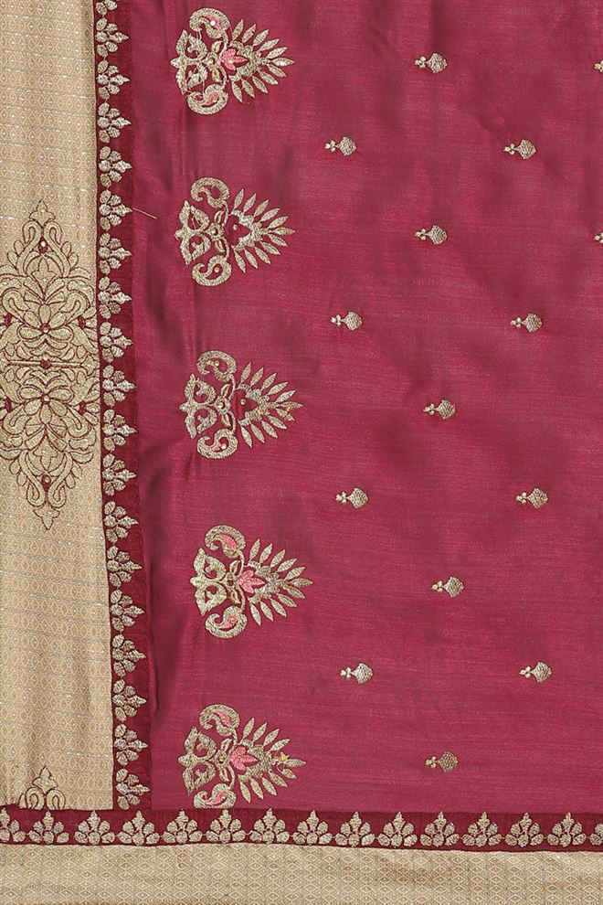 Purple Color Traditional Saree In Art Silk Fabric With Embroidery Work
