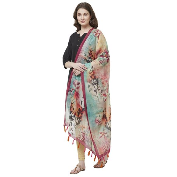 Multicolor Floral Digital Print Dupatta