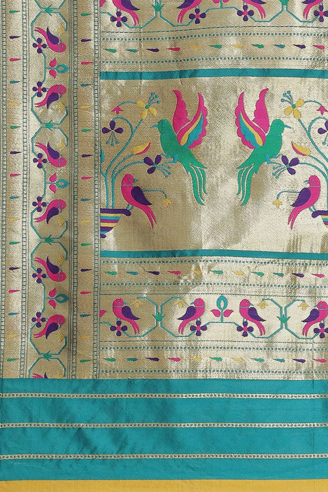 Rama Color Banarasi Jacquard Silk Fabric Saree