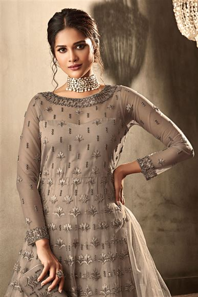 Reception Wear Heavy Embroidered Designer Anarkali Suit In Dark Beige Color