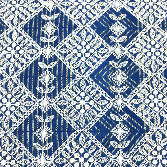 Cotton Satin Blue Color Fabric With Embroidery