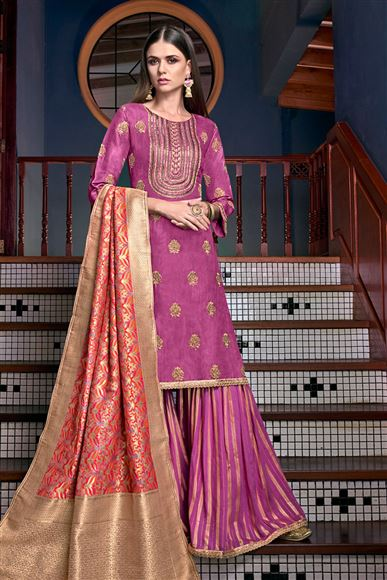 Satin Fabric Magenta Color Function Wear Embroidered Palazzo Suit