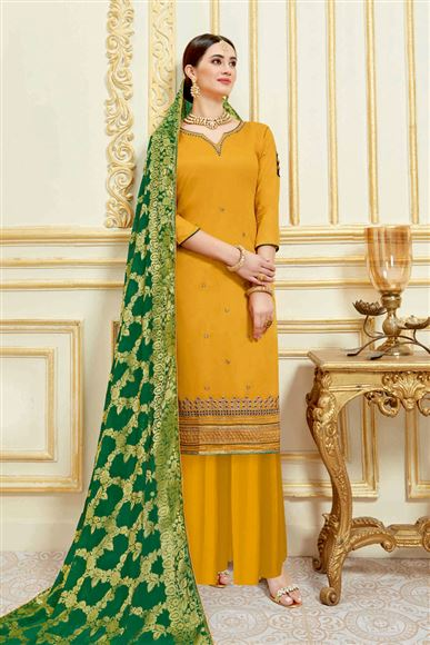 Satin Fabric Mustard Function Wear Palazzo Salwar Kameez With Embroidery Designs