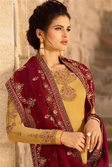 Satin Georgette Fabric Cream Color Occasion Wear Straight Cut Suit With Embroidery Work