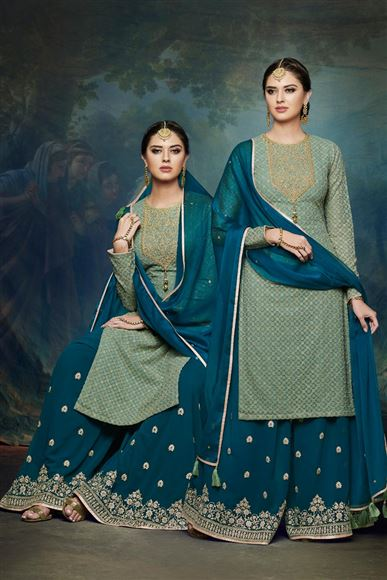 Sea Green Color Georgette Function Wear Embroidered Designer Palazzo Suit
