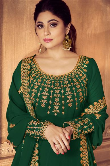 Shamita Shetty Featuring Embroidered Dark Green Georgette Fabric Function Wear Anarkali Suit