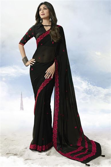 Shilpa Shetty Black Color Festive Wear Georgette Saree With Embroidery Work