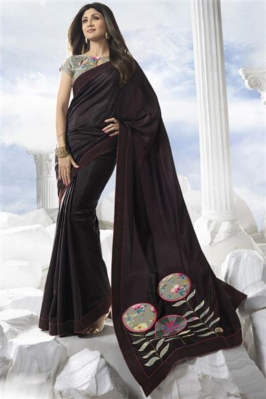 Shilpa Shetty Brown Color Georgette Festive Wear Saree With Embroidery