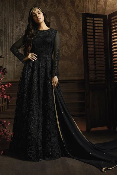 Sonal Chauhan Black Function Wear Designer Embroidered Anarkali Dress In Net Fabric