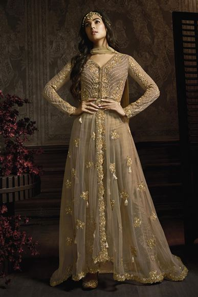 Sonal Chauhan Designer Net Fabric Function Wear Embroidered Anarkali Suit In Dark Beige