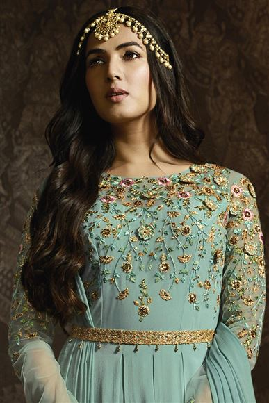Sonal Chauhan Georgette Function Wear Cyan Embroidered Designer Anarkali Dress