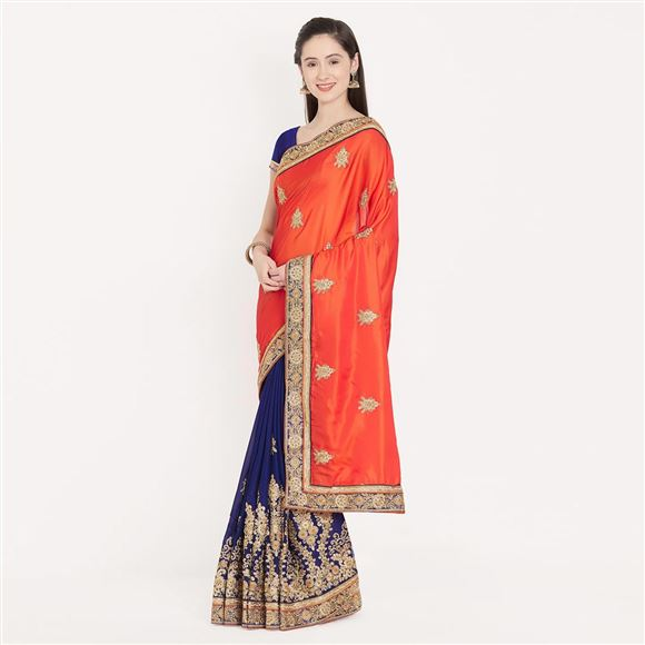 Stunning Border Work On Orange And Blue Occasional Wear Crepe Saree