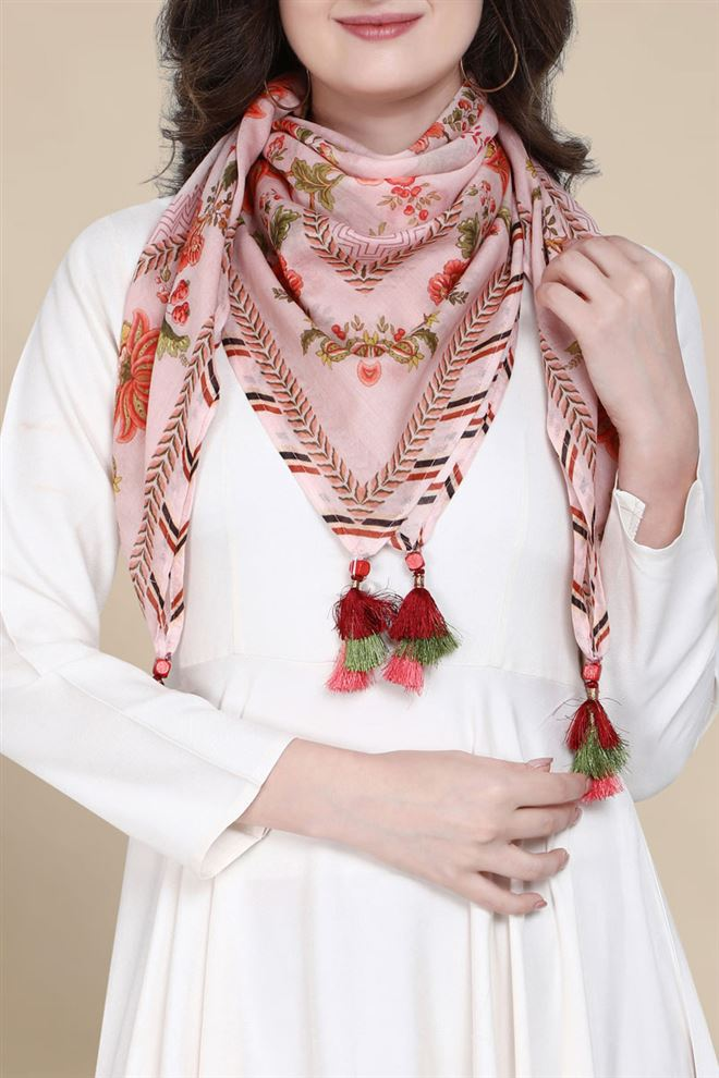 Ethnic Print Light Pink Pure Cotton Printed Scarf