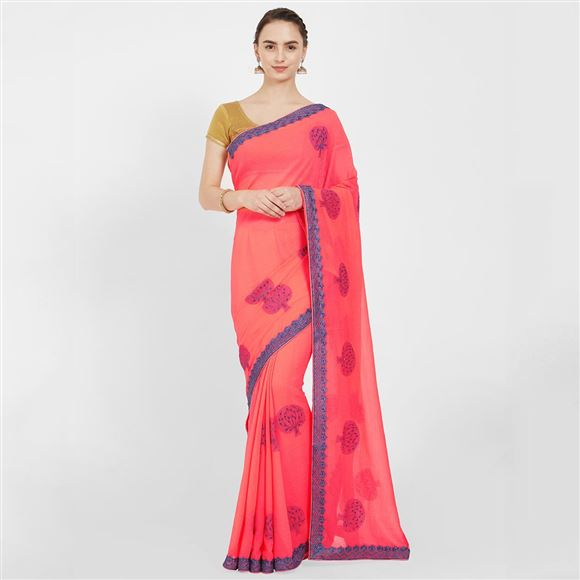Traditional Wear Art Silk Peach Color Saree With Embroidery