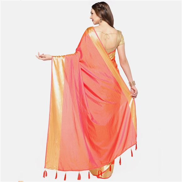 Traditional Wear Art Silk Peach Color Saree With Weaving Work