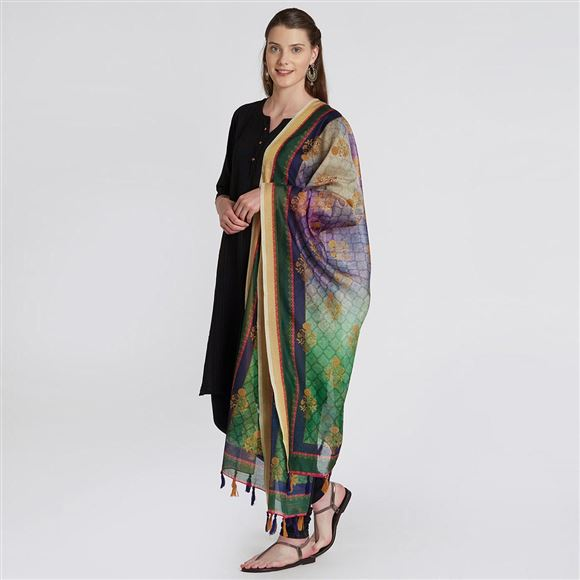 Traditional Wear Printed Dupatta In Green And Purple Chanderi Silk Fabric