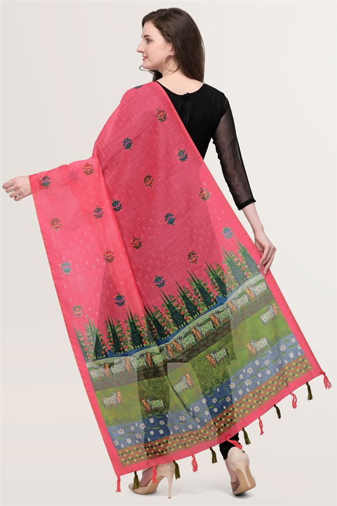 Faserz Ethnic Dark Pink Color Digital Print Chanderi Silk Dupatta