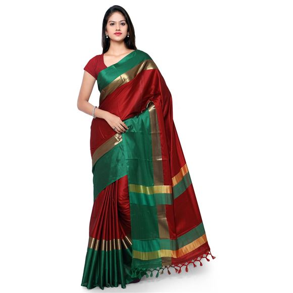 Weaving Work On Maroon Party Wear Saree In Cotton Silk Fabric With Beautiful Blouse