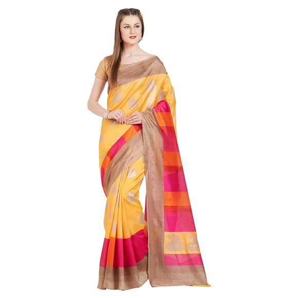 Weaving Work On Yellow Tussar Silk Function Wear Saree With Party Wear Blouse