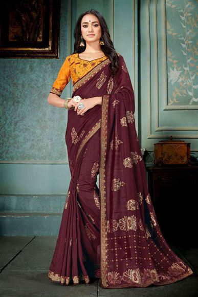 Wine Color Embroidery Work Designer Saree In Art Silk With Admirable Blouse