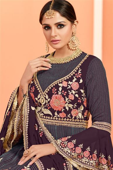 Wine Color Georgette Festive Wear Sharara Palazzo Suit With Embroidery Work