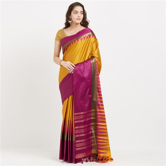 Wonderful Yellow Color Function Wear Cotton Silk Saree With Designer Weaving Work