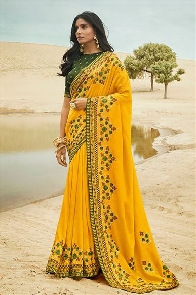 Yellow Color Art Silk Fabric Sangeet Wear Saree With Embroidery Work And Blouse