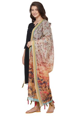 Abstract Floral Print Dupatta In Light Peach Color With Chanderi Silk Fabric