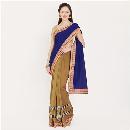 Attractive Crepe Saree With Border Work For Function Wear