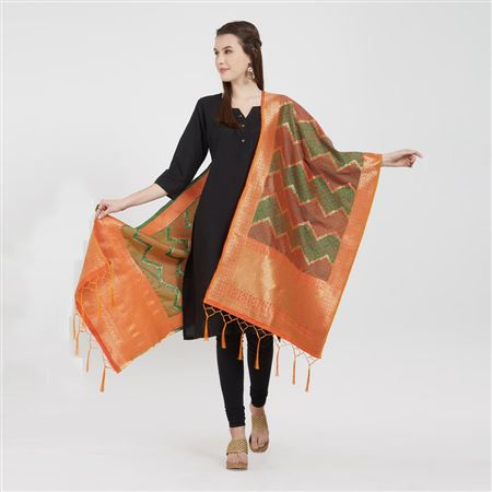 Attractive Red Color Banarasi Silk Festival Wear Dupatta With Tassels