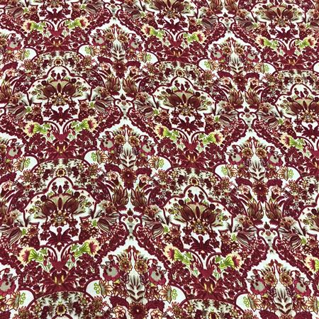 Beautiful Floral Leaves Print on Off White Color Rayon Fabric