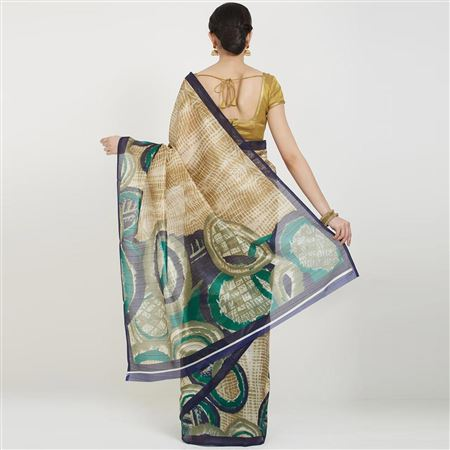 Beige Bhagalpuri Silk Party Wear Saree With Weaving Work And Charming Blouse