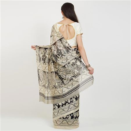 Bhagalpuri Silk Black And Cream Color Party Wear Saree With Weaving Work