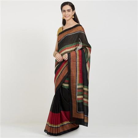 Bhagalpuri Silk Fabric Designer Saree In Black With Weaving Work Designs And Attractive Blouse